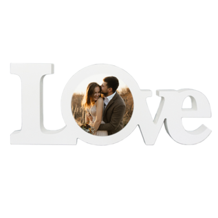 "WHITE COATED WOOD LOVE BLOCK 11.81"" X 4.72"""