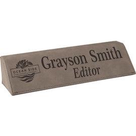 "8.5"" Grey Laserable Leatherette Desk Wedge"