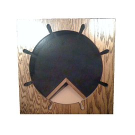Morgan House Shadow Box in the shape of a Ships Wheel with a 3x5 flag area
