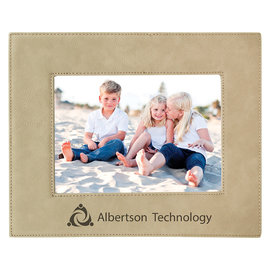 """5"""" x 7"""" Light Brown Leatherette Picture Frame..Includes Simple Engraving"""