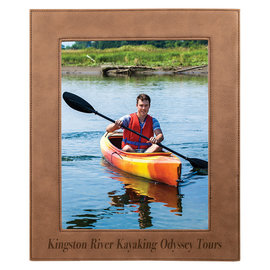 """8"""" x 10"""" Dark Brown Leatherette Picture Frame..Includes Simple Engraving"""