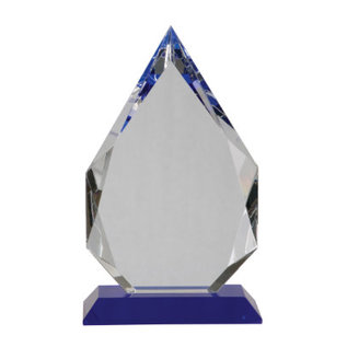 "Crystal Award 10"" Diamond Crystal on Blue Pedestal Base"