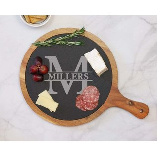 """Round Acacia Wood/Slate Serving Board with Handle - 12.25"""" x 8.25"""""""