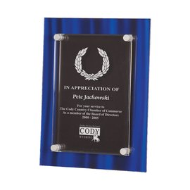 """Floating Plaque - 9""""x12"""" with 7""""x9"""" Acrylic Plate  - Blue Velvet"""