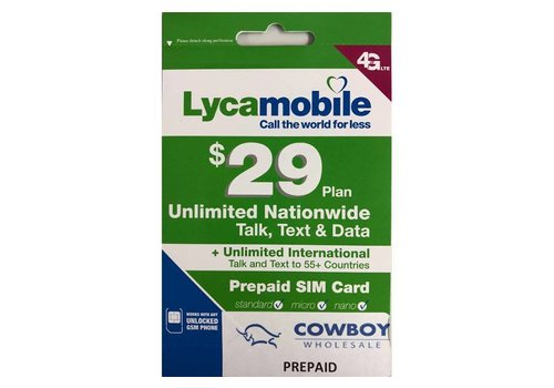 Sim Card- Lyca Mobile 2 Months $29 plan (Prepaid)