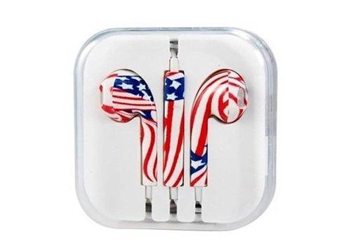 Earphones for Apple (Metallic/USA Flag)