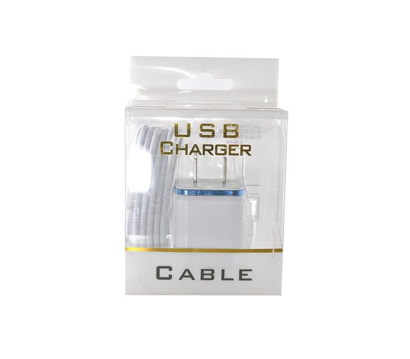 2in1 Home Combo- Color Edge Cube Adapter (2 Port), Lightning Cable