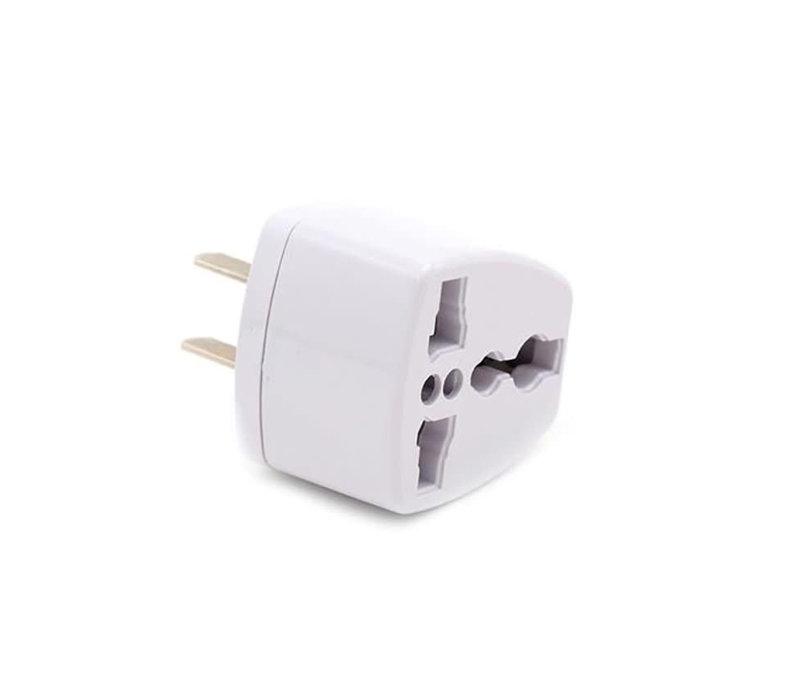3-Prong International Flat Coverter Adapter (White) - BLY001