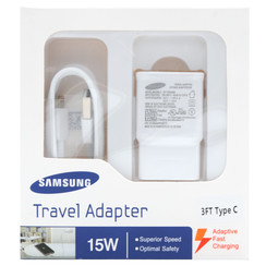 Original 2in1 Samsung S8 Fast Adapter w/ 3ft Type-C Cable (White Packaging)