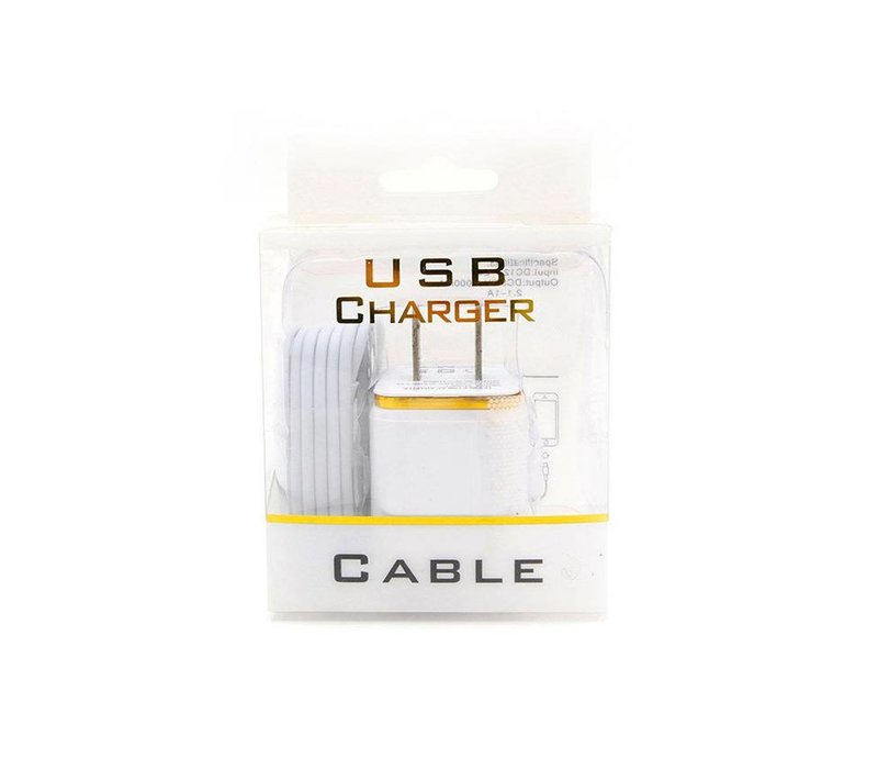 2in1 Home Combo- Cube Adapter (2 Port), Lightning Cable (Blister Packaging)