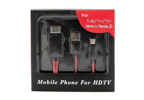 HDTV MHL to HDMI Cable for Android/Samsung (3213)(Red/Black Package)