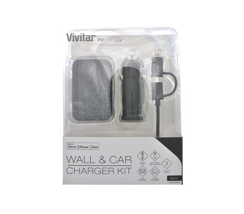 3in1 Vivitar Infinite Wall & Car Charger Kit ONYX Limited (VI5989-0D)