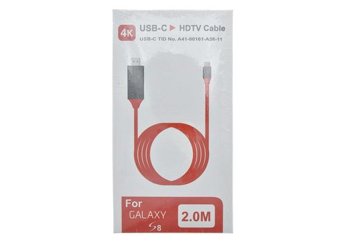 4K USB Type-C To HDTV Cable for Samsung S8 (2M - Red)
