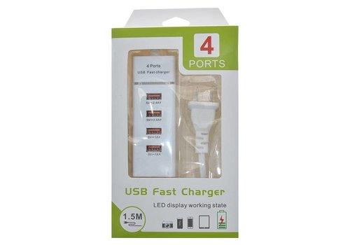 4 USB Port Fast Charge Power Strip