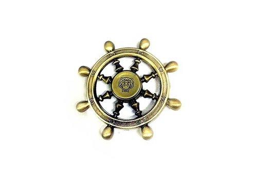 Fidget 8-Spoke Copper/Steel Shipwheel Spinner (Old Style w/ Round Handle)