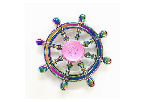 Fidget 8-Spoke Colorful/Rainbow Shipwheel Spinner (Old Style w/ Round Handle)