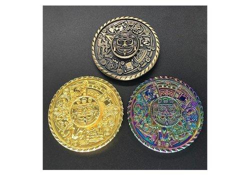 Fidget Round Aztec Shield Spinner (Brass, Gold, Rainbow)