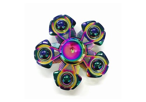 Fidget Colorful/Rainbow Five-Pointed Metal Spinner w/ Ball Tip Edges