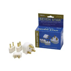 Seven Star 4 Adapter Plugs (3 Prong/Round Pins/Flat Blades/Flat Angled Blades)
