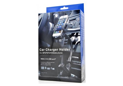 Car Charger Holder w/ Dual 2.1A USB Ports (C47, F-22 Blue/Grey Package)