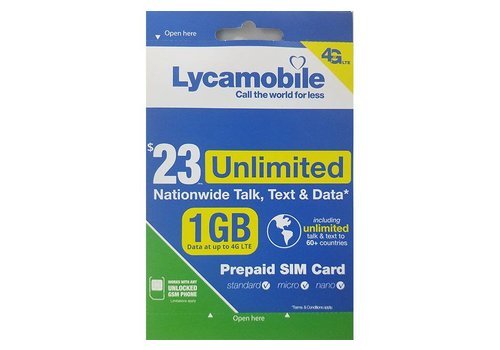 Sim Card- Lyca Mobile $23 plan (Prepaid)