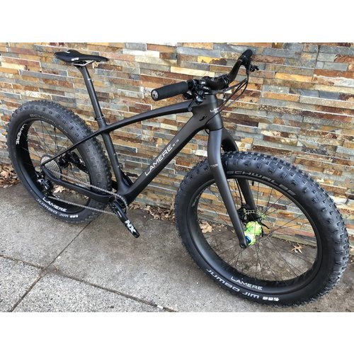 "LaMere Cycles 15.5"" Fat Bike with Onyx Green front hub"