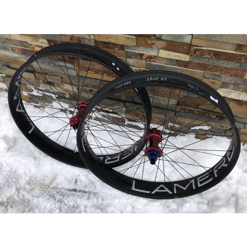 "LaMere Cycles Wheelset Fat 26"" Single Wall w Red Tune Hubs 177/150"