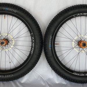 "LaMere Cycles 27.5"" Fat Wheel Set, Orange Onyx Hubs"