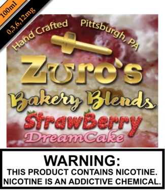 Zuro's Zuro's 100ML Bottles - Strawberry Dreamcake
