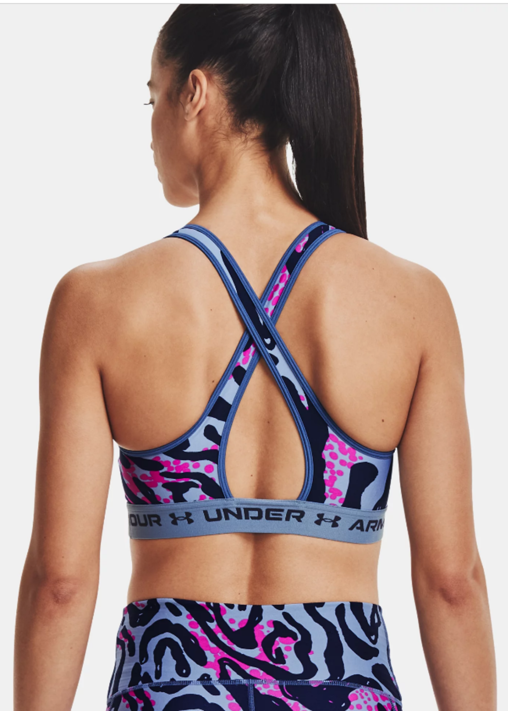 Under Armour WOMEN'S ARMOUR® MID CROSSBACK PRINTED SPORTS BRA 1361042