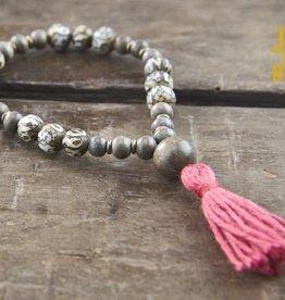 Japa Mala Conch + Silver Greywood Wrist Mala