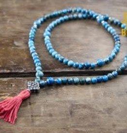 Japa Mala Blue Crazy Lace Agate + Silver Full Mala