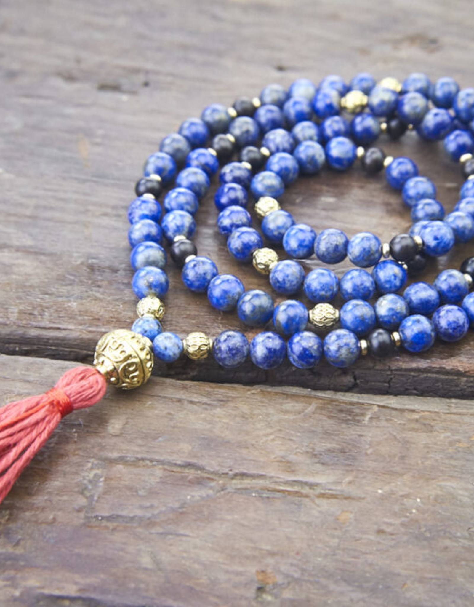 Japa Mala Japa Full Mala - Lapis Lazuli + Brass + Ebony