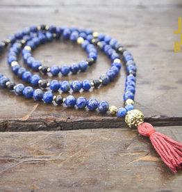 Japa Mala Lapis Lazuli + Brass + Ebony Full Mala