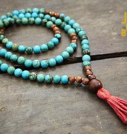 Japa Mala Turquoise + Rosewood Full Mala