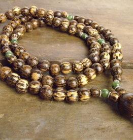Japa Mala Palm Wood + Jade Full Mala