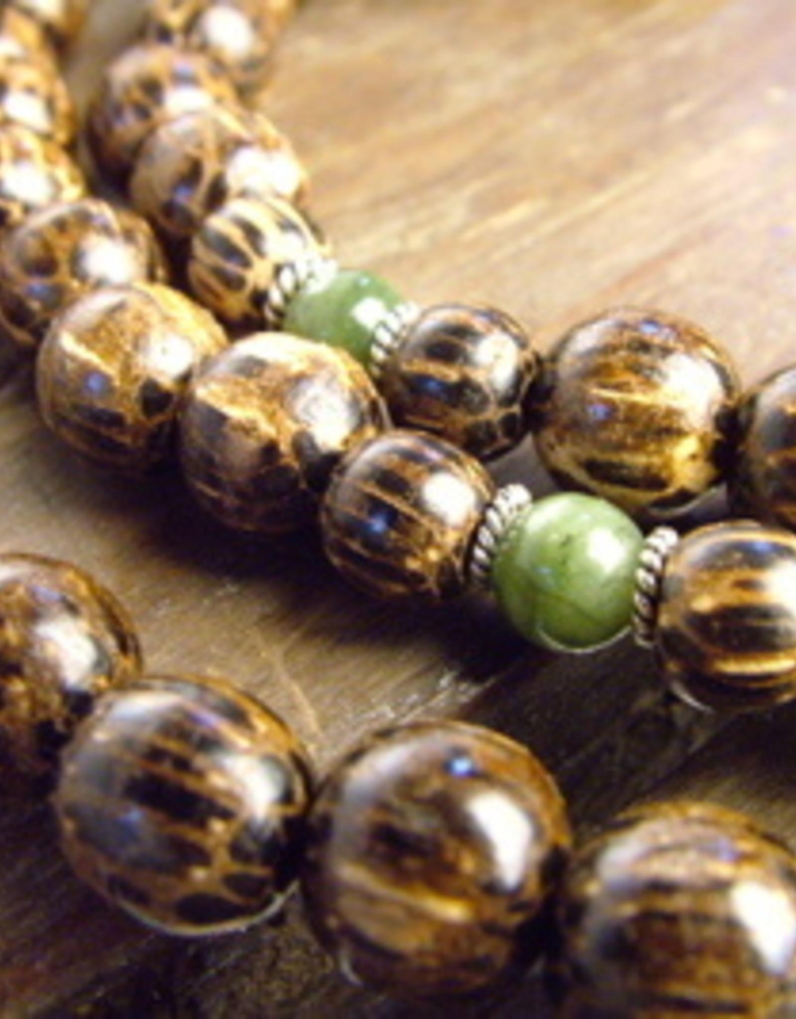 Japa Mala Japa Full Mala - Palm Wood + Jade