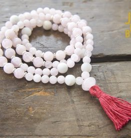 Japa Mala Rose Quartz + White Agate Full Mala