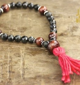 Japa Mala Black Obsidian + Red Tiger Eye Wrist Mala