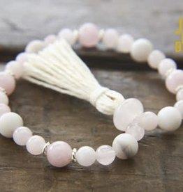 Japa Mala Rose Quartz + White Agate Wrist Mala