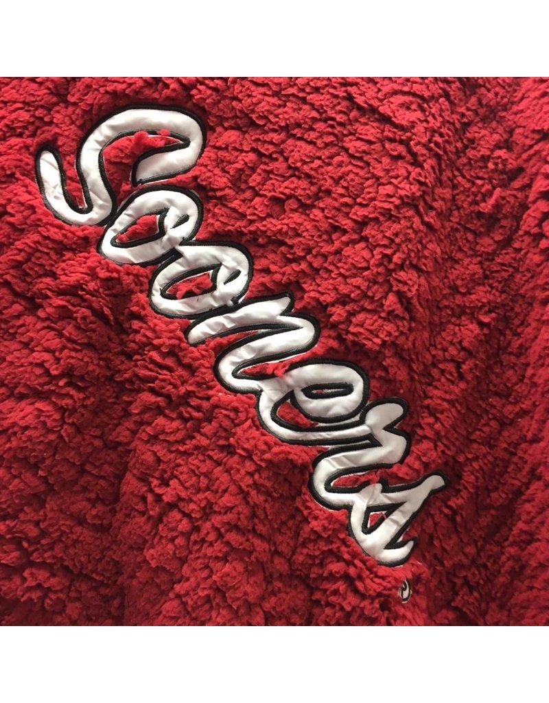 "Summit Crimson Sooners Applique Sherpa Throw 48""x64"""