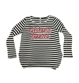 Bamboa Women's Bamboa Black/White Striped Long Sleeve w/ Glitter Graphic
