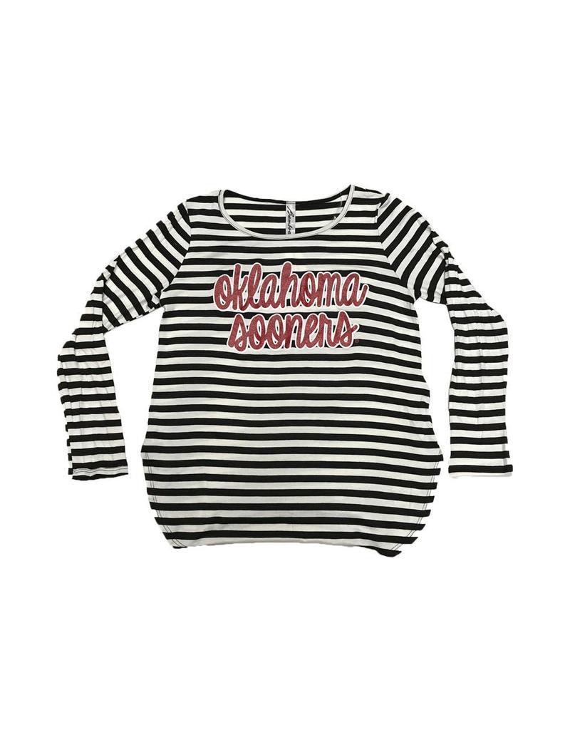 Bamboa Women's Bamboa Black/White Striped Long Sleeve w/ Glitter Graphic