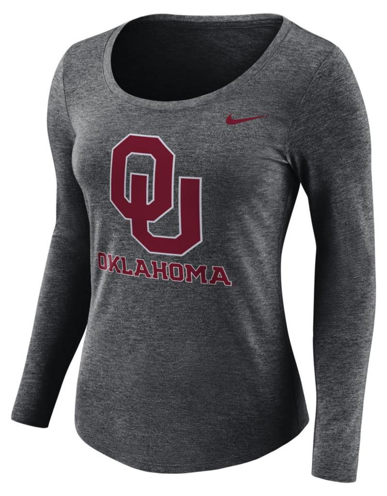 Nike Women's Nike Long Sleeve Logo Tee Charcoal Hthr.