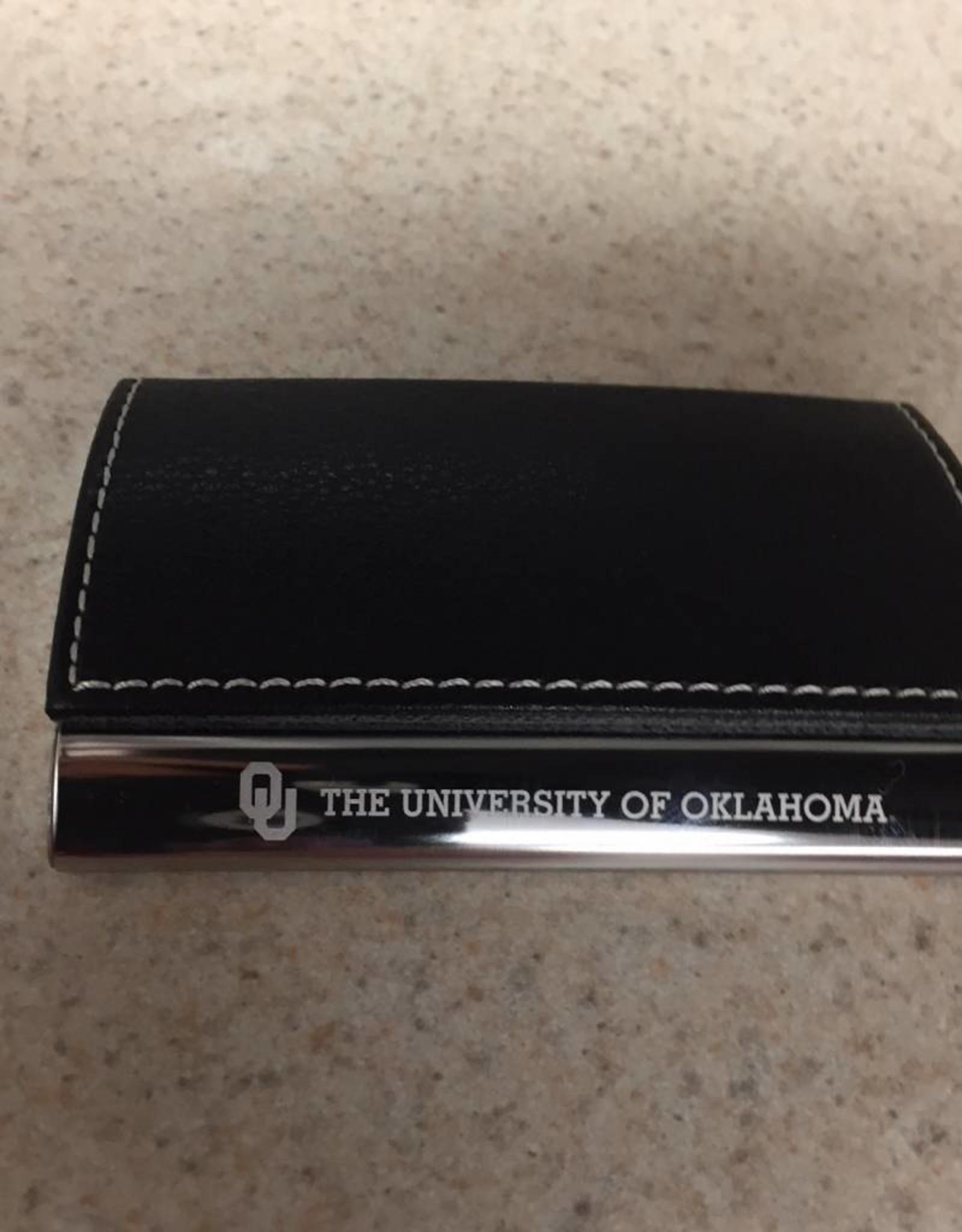 LXG OU The Univ. Of Okla. Black Faux Leather/Chrome Business Card Holder