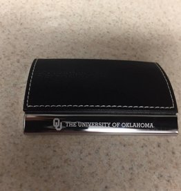 LXG OU The Univ. Of Okla. Black Faux Leather/Chrome Business Card Holder