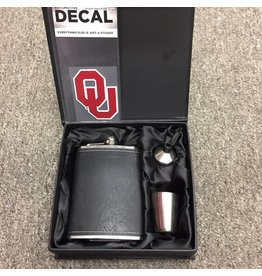 4pc. Stainless Steel Flask Set & OU Decal