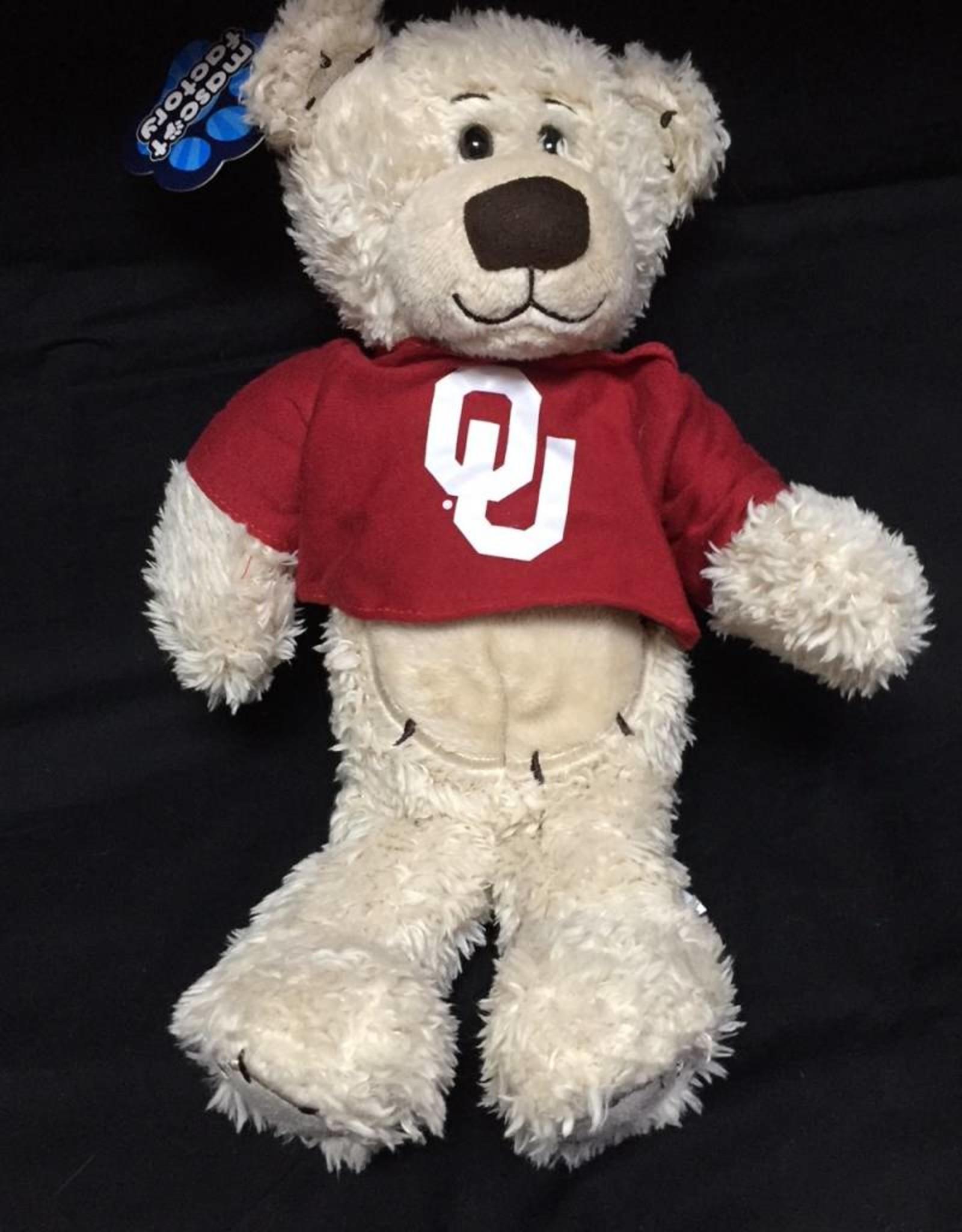 "Mascot Factory OU Stitchez Bear w/ T-Shirt Cream 8"""