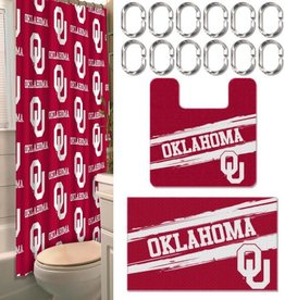 Northwest OU Collegiate Bath Set (Shower Curtain & Rings, Bath Mat, Contour Rug