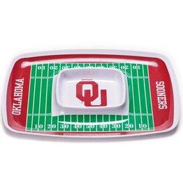 BSI OU Football Field Durable Melamine Chip & Dip Tray